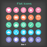 Vector Round Flat Icon Set 1 in Color Variation