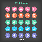 Vector Round Flat Icon Set 3 in Color Variation