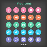 Vector Round Music Flat Icon Set 4 in Color Variation.