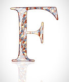 Abstract letter F.