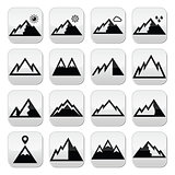 Mountains vector buttons set