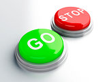 go adnd stop buttons. 3d illustration