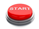 Red start button. 3d illustration