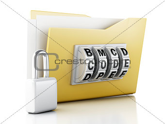 folder and lock. Data security concept. 3d illustration