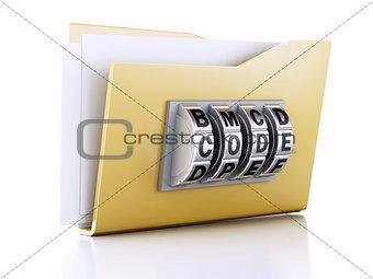 folder and lock. Data security concept. 3d illustration