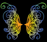 illustration. Iridescent wings of a butterfly on a black backgro