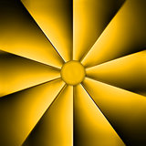 A yellow fan on dark background