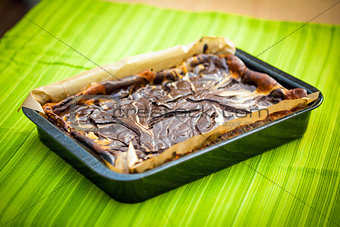 Fresh baked marble cheese cake with chocolate