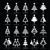 Christmas tree white icons set isolated on black