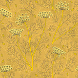 Fennel Plants And Seeds Seamless Pattern
