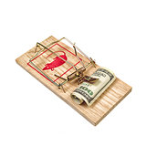 Hundred Dollars Bill in Mouse Trap