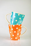 Empty Polka Dot Mugs