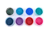 Set of colorful powder eye shadows