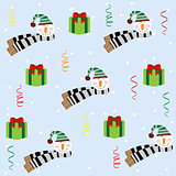 Christmas seamless pattern with snowman. The pattern can be repeated or tiled without any visible seams. Swatch is included.