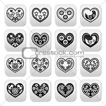 Folk hearts with flowers and birds buttons set