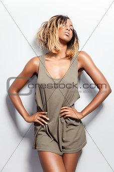 Beautiful black model posing in tanktop