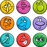 characters faces cartoon illustration set