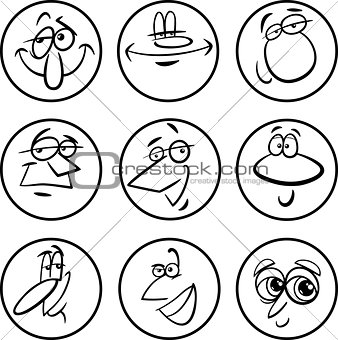characters faces cartoon illustration set