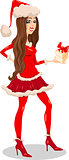 girl santa claus cartoon illustration