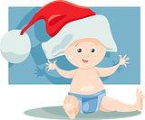 baby boy santa cartoon illustration
