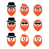 Man with ginger beard with moustache or mustache, hipster icons set