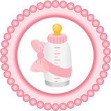 Baby bottle it's a girl round label