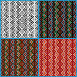 Four seamless ethnic motifs patterns