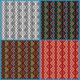 Four seamless ethnic motifs patterns