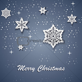 Christmas card with white stars on the background