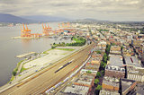 Aerial view of the port, railway station and east city part of Vancouver.