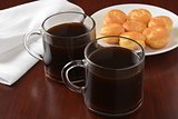 Coffee and cream puffs