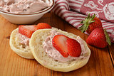 English muffin with strawberry cream cheese