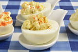 Closeup of deviled eggs