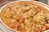 Sausage and chicken gumbo closeup