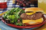 Cheeseburger and salad