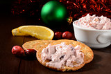 Crackers with cranberry orange cheese spread