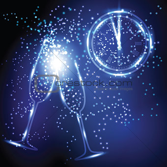 Old clock, pair of wineglass and sparks in the air at New year midnight hour.
