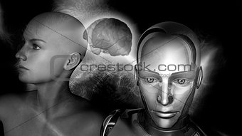 Artificial Intelligence - Robot woman connected to a female brain