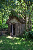 18th Century medieval woodcutters shed in woodland setting