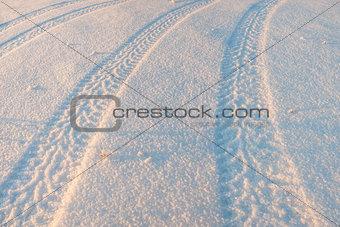 Tire tracks on the snow 03