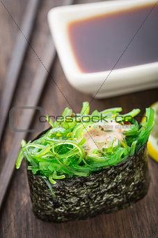Close up of gunkan sushi