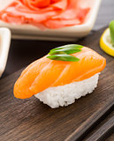 Nigiri sushi with salmon