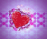 Heart on pattern background