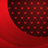 Heart pattern background with red ribbon
