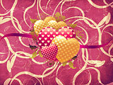 Hearts on vintage floral background