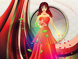 Lady in red dress on holiday background