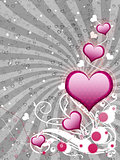 Pink hearts on gray background