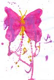 Pink Watercolor Butterfly