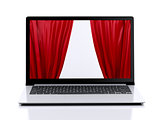 laptop and curtain on the screen. business concept