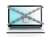 Laptop with lock and chain. Data security concept.